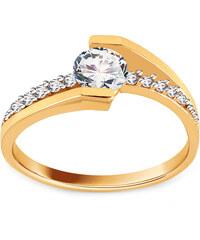 Zlatokov Mohutný zásnubní zlatý prsten s velkým zirkonem 585 3 3ecca7b1f07