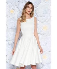 Fehér StarShinerS elegáns harang ruha enyhén rugalmas anyag belső béléssel  kivágott hátrész masni alakú kiegészítővel 368afc0b59