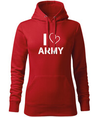 O T kapucnis női pulóver I love army 337c3ae485