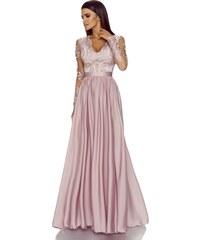 aaa4202ce36 Emo Pudrově růžové dlouhé šaty Luna