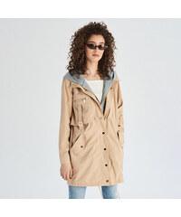 Sinsay - Kabát s kapucňou - Béžová 2ae9dc59b9c