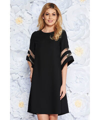 c7073ea912 StarShinerS Fekete ruha elegáns bő szabású rugalmatlan szövet bő ujjú