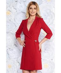 b25d274fa9 StarShinerS Piros Artista zakó tipusú a-vonalú elegáns ruha enyhén  elasztikus szövet belső béléssel