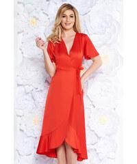 StarShinerS Piros alkalmi ruha átfedéses rugalmatlan anyag fodrok a ruha  alján 1cca29547c