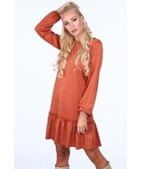 FASARDI Červené dámske šaty s dekoratívnymi volánmi na spodku  S 2cb37c9eec2