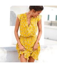 Blancheporte Volánové šaty s potiskem žlutá bílá černá bc85f55bb6
