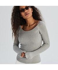 Sinsay - Testhezálló bordázott pulóver - Világosszü 4acbca9663