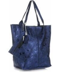 8d70988ba26 Genuine Leather Kožené kabelky Shopper bag Lakované Tmavě modrá