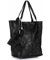 Genuine Leather Kožené kabelky Shopper bag Lakované Černá 97e662806ef