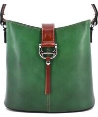 Dámská kožená kabelka crossbody Arteddy - zelená hnědá 6fbf9e71082