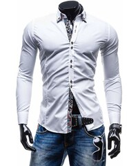 62af2f7e50af Biela pánska elegantná košeľa s dlhými rukávmi BOLF 0722
