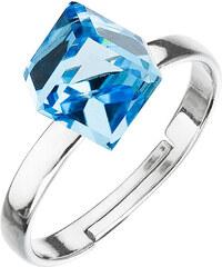 EVOLUTION GROUP Strieborný prsteň s krištáľmi modrá kostička 35011.3 d697845602e