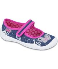 99f29a12124f Befado Dievčenské papučky s motýlikom Blanca - modré