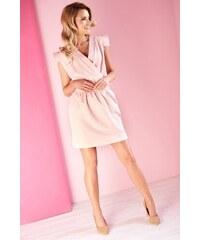 PLANETA-MODY Dámske šaty s krátkym rukávom MQ-100 púdrové e8ba44b5c21