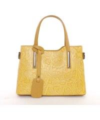 N.A. GEUNINE LEATHER bőr táska nyomott mintás sárga színű 51ac5ee544