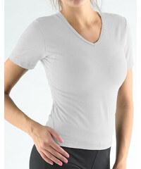 ec0860580920 GINA Tričko s krátkym rukávom a V výstrihom jednofarebné 98015-LGB  šedoBiela S
