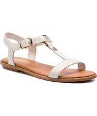 6bcd5ea9e4 Szandál TOMMY HILFIGER - Elevated Leather Flat Sandal FW0FW03946 Whisper  White 121