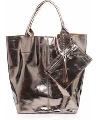 Genuine Leather Kožené kabelky Shopper bag Lakované měděná ba173e4f41e