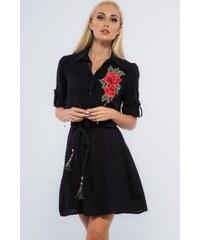 957da3e6fed5 FASARDI Čierne šaty s nášivkou kvetov  XL