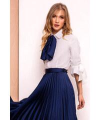 06d4390910 Sötétkék StarShinerS elegáns női ing szűk szabás enyhén rugalmas anyag  háromnegyedes ujjú