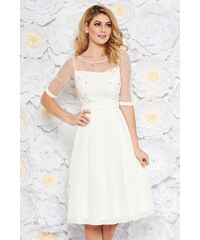 StarShinerS Fehér alkalmi midi harang ruha fátyol belső béléssel gyöngyös  díszítés 3f34e39bb4