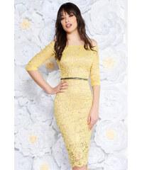 Sárga StarShinerS alkalmi midi ruha szűk szabás csipkés anyag belső  béléssel övvel ellátva fe7d06992f