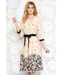 StarShinerS Krém elegáns harang ruha finom tapintású anyag övvel ellátva  virágmintás b178e1e0fd
