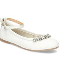 18e481e3b9cc Mini B Biele kožené baleríny s kamienkami dievčenské