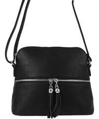 NEW BERRY Malá crossbody kabelka so strieborným zipsom NH6021 čierna d7075b9ac46