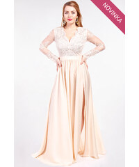 EMO Béžové plesové šaty 3b175f3b12b