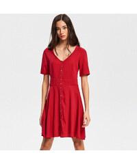 Reserved - Šaty z materiálu Tencel - Červená 73d038a7ee