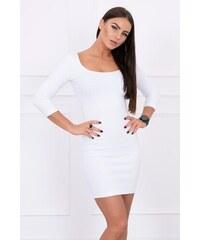 c94752d28d08 MladaModa Šaty z vrúbkovaného materiálu s okrúhlym výstrihom model 8973  biele