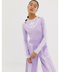 fa746b7826a9 adidas Originals x Ji Won Choi long sleeve three stripe body in purple glow  - Purple