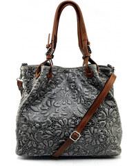 Kožená šedá kabelka na rameno madeleine two VERA PELLE 34823 d748e6a8cfb