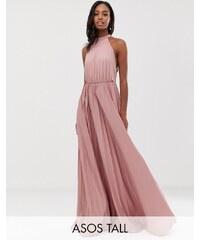 ASOS Tall ASOS DESIGN Tall Halter Pleated Waisted Maxi Dress - Rose 11edc064ea