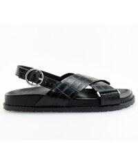 Reserved - Sandále s textúrou so zvieracím vzorom - Čierna f337cc18b4a