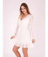 b8dd2b3975c9 OBLIEKAM Biele letné šaty s dlhým rukávom Feliz