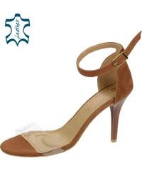 da0cdd8c3e96 OLIVIA SHOES Hnedé dámske sandále s priesvitným lemom DSA2050-900