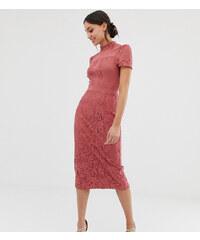 b9d674d21021 Little Mistress Tall lace detail midi pencil dress in terracotta - Terracota