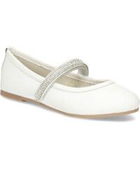 27515376f0ea Mini B Biele dievčenské kožené baleríny so štrasovým remienkom