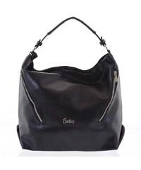 b8d1489d34 Elegantní měkká kabelka přes rameno černá - Carine Avalina čierna