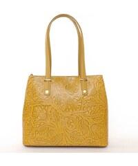 N.A. GEUNINE LEATHER bőr táska nyomott mintás sárga színű b62b47845c