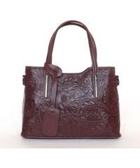 N.A. GEUNINE LEATHER bőr táska nyomott mintás bordó színű 71292d8714