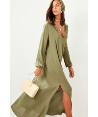 Šaty dámské Trendyol Hooded Khaki 3e2124fe9cb