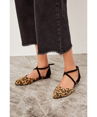 4b94c5d18aee Trendyol Brown Leopard Print Suede Women s Flats Brown