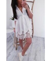 Mishel Košilové šaty s krajkou - bílá c992bde77c