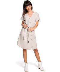 cf3dd962cd6d BE WEAR Béžové asymetrické košeľové šaty s drevenými gombíkmi B111