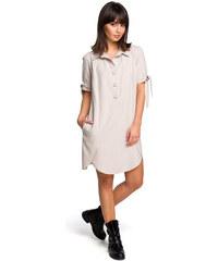 107dfe901262 BE WEAR Béžové košeľové šaty s krátkym rukávom a troma drevenými gombíkmi  B112