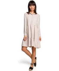 a8d34f3b6ca9 BE WEAR Béžové košeľové šaty s volánmi a dlhým rukávom B110