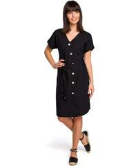d9e99f2ca9c6 BE WEAR Čierne asymetrické košeľové šaty s drevenými gombíkmi B111